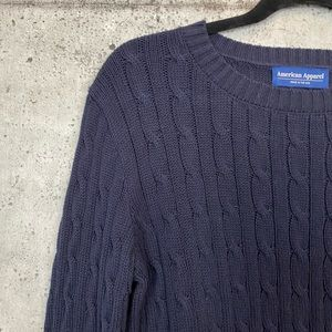 American Apparel Sweaters - American Apparel / Navy Fitted Cable Knit Sweater